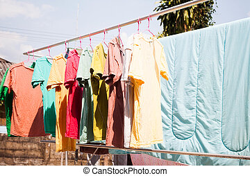 Dry clothes in the air with sun light