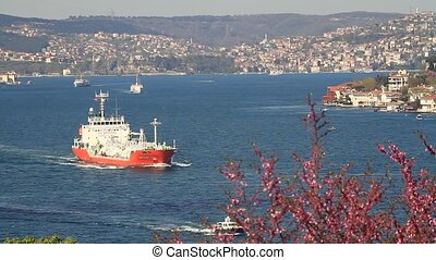 Bosphorus in Springtime - Tanker ship cruising along coast...