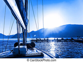 Sail boat on the water - Luxury sail boat on the sea, sun...