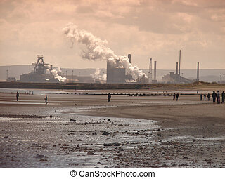 People Industrial Coastline - People enjoying Industrial...