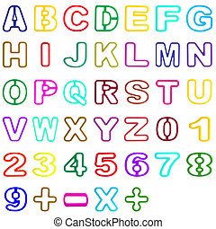 collection plastic hollow alphabet and number isolated on...