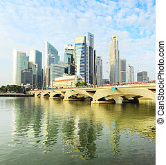 Singapore in the morning - View of Singapore downtown in the...