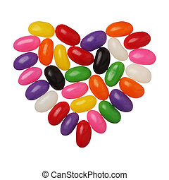Jellybeans heart isolated on white background, close up