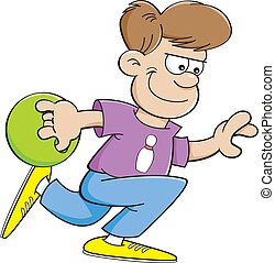 Cartoon boy bowling - Cartoon illustration of a boy throwing...