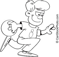 Cartoon boy bowling - Black and white illustration of a boy...