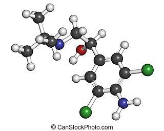 Clenbuterol asthma drug, molecular model. Clenbuterol is...