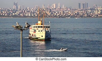 City Ferry - City passenger ship sailing into port of...