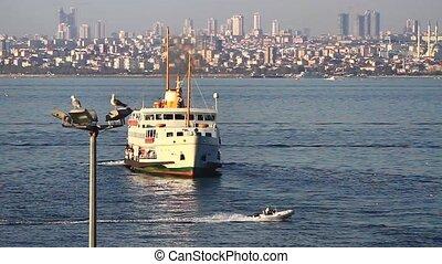 City Ferry - City passenger ship sailing into port of...