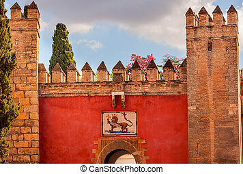 Red Front Gate Alcazar Royal Palace Seville Spain - Red...