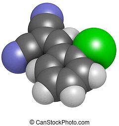 CS tear gas molecule (2-chlorobenzalmolononitrile). Atoms...