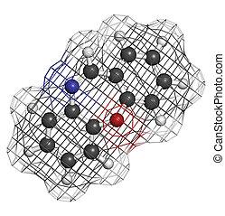 Dibenzoxazepine (CR) tear gas molecule. CR gas is used as a...