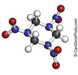 RDX (cyclonite, hexogen) explosive molecule, chemical...