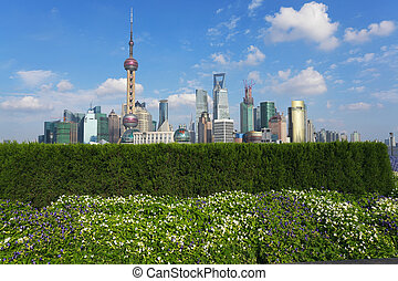 Shanghai bund landmark skyline at city buildings landscape