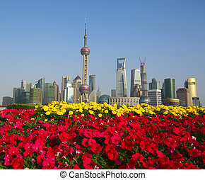 Red morning glory prospects Shanghai Bund landmark city...