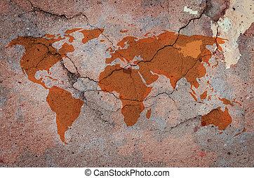 mapa, rachado, concreto, mundo, parede