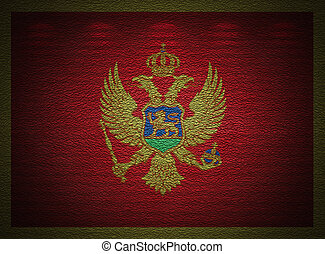 Montenegro flag wall, abstract grunge background