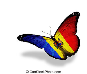 Moldova flag butterfly flying, isolated on white background
