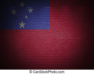 Samoa flag wall, abstract grunge background