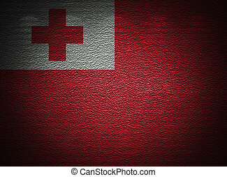 Tonga flag wall, abstract grunge background
