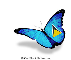 Saint Lucia flag butterfly flying, isolated on white...