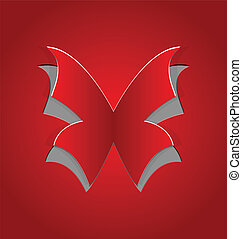 Cut out butterfly, red paper - Illustration cut out...