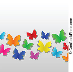 Set cut out colorful butterfly, grey paper
