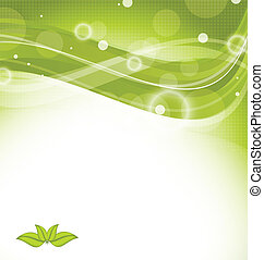 Wavy nature background with green leaves
