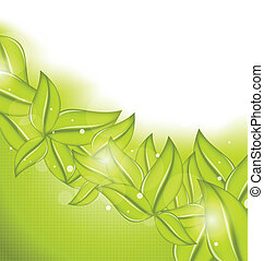 Ecology background with eco green leaves