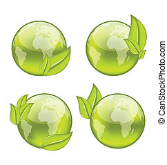 Illustration set icon world with eco green leaves isolated on white background - vector