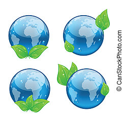 Set icon earth with green leaves isolated on white background