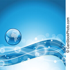 Abstract wavy water background with earth symbol