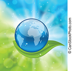 Planet earth with green leaf