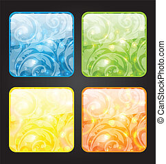 Set four seasonal icon with floral colorful background -...