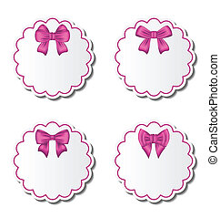 Set of beautiful cards with pink gift bows