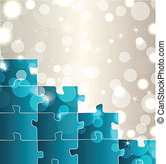 Abstract background with set puzzle pieces - Illustration...