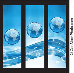 Abstract banners with wavy water line and earth symbol