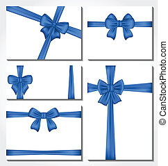 Set of blue gift bows for design packing