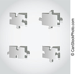 Cut out set puzzle pieces, grey paper