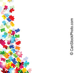 Abstract background with set colorful puzzle pieces -...