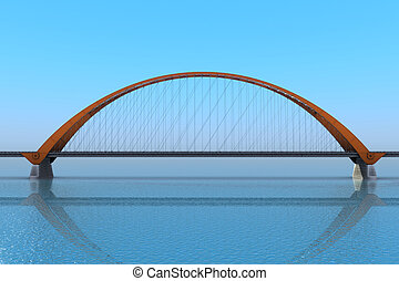 Bridge over the ocean 3d illustration - realistic 3d render