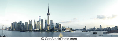 Shanghai's modern architecture cityscape panoramic photo...