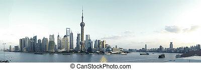 Shanghai's modern architecture cityscape panoramic photo...