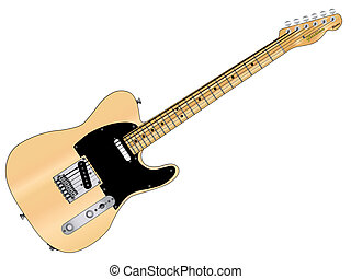Rock Guitar - A classic rock guitar isolated over a white...