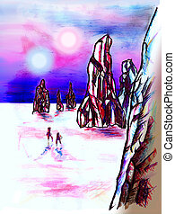 Distant planet landscape with two astronaut Drawing, mixed...