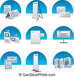 print advertising icon set