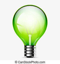 Green light bulb icon isolated on white