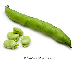 Broad Beans - Fresh broad beans isolated on white background