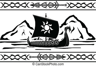 stencil of viking ship. vector illustration