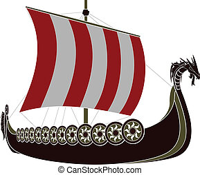 viking ship stencil vector illustration