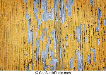 parede, amarela, pintado, madeira,  grunge